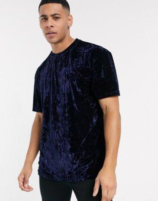 Topman - Marineblaues Samt-T-Shirt-Navy