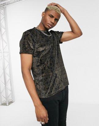 Topman - Schwarzes Samt-T-Shirt mit Barockmuster