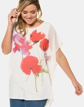 Ulla Popken Klassische Bluse bis 62+ Oversized Shirt Mohnblumen-Motiv Überwurf aus Chiffon Rundhalsausschnitt überschnittene Schultern