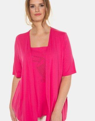 Ulla Popken T-Shirt 2-in-1-Shirt, Glitzer-Kakadu, Jacke mit 3/4-Ärmeln, selection
