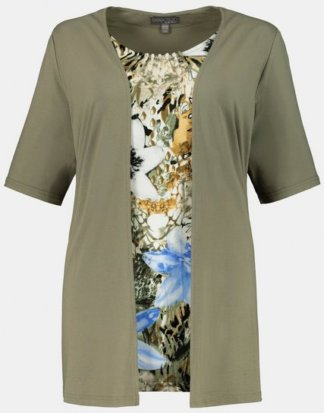Ulla Popken T-Shirt 2-in-1-Shirt, Patch-Design, langer Halbarm, selection