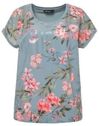 Ulla Popken T-Shirt bis 62+ Oversized Shirt Blütenmuster Rundhalsausschnitt überschnittene Schultern Rücken aus Jersey