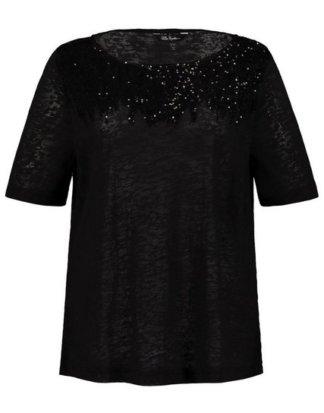 Ulla Popken T-Shirt bis 62+ Shirt Ausbrenner-Jersey Pailletten-Details Rundhalsausschnitt Halbarm