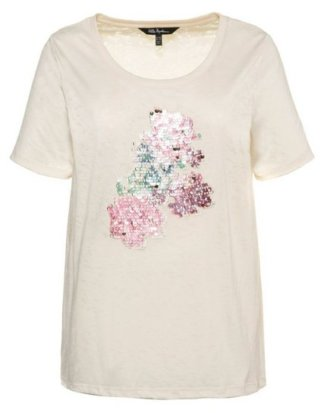 Ulla Popken T-Shirt bis 62+ T-Shirt Pailletten auf Blütenmotiv Rundhalsausschnitt Halbarm