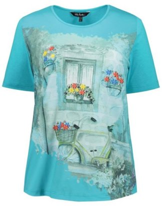 Ulla Popken T-Shirt bis 62+ T-Shirt Rundhals Halbarm Ziersteine