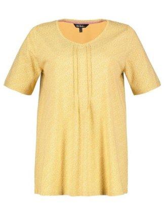Ulla Popken T-Shirt bis 62+ V-Shirt Streublümchen Biesen Halbarm