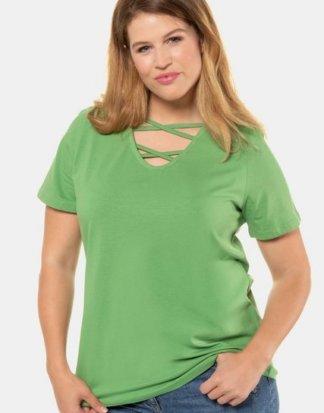 Ulla Popken T-Shirt bis 62+ V-Shirt mit Bändern gerundeter V-Ausschnitt Halbarm