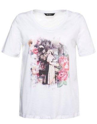 Ulla Popken T-Shirt bis 62+ V-Shirt mit Vintage-Trachtenmotiv Glitzersteinchen Halbarm