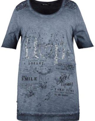 Ulla Popken T-Shirt bis 64, Oil dyed Shirt, Flammjersey mit Pailletten, Rundhalsausschnitt, Lagen-Effekt, Halbarm