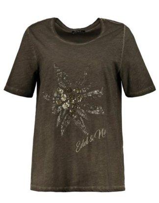 Ulla Popken T-Shirt bis 64, Oil dyed T-Shirt, Edelweiß-Motiv aus Pailletten, Schrift-Stickerei, Rundhalsausschnitt, Halbarm