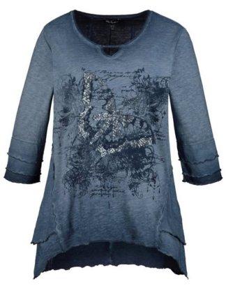 Ulla Popken T-Shirt bis 64, Shirt aus Flammjersey, Schmetterlings-Motiv mit Pailletten, Rundhalsausschnitt mit Aussparung, 3/4-Ärmel mit Volants