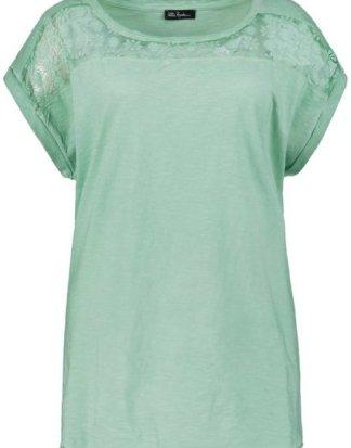 Ulla Popken T-Shirt bis 64, Shirt aus oil dyed Flammjersey, Spitzen-Details, Pailletten, Rundhalsausschnitt, überschnittene Schultern