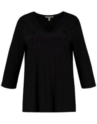 Ulla Popken T-Shirt bis 64, Shirt, glitzernde Ziersteinchen, Gerundeter V-Ausschnitt, 3/4-Ärmel, bequeme Passform