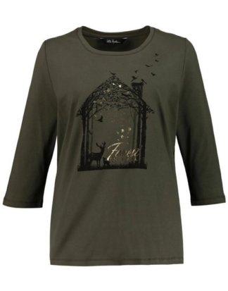 Ulla Popken T-Shirt bis 64, Shirt mit Waldmotiv, Glanzfolie, Rundhalsausschnitt, 3/4-Ärmel, Passform Classic