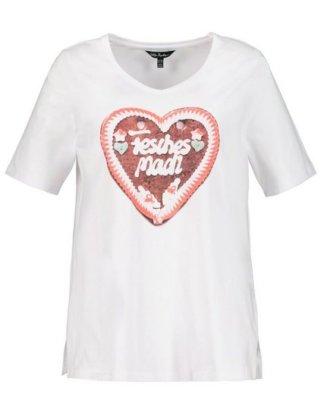 Ulla Popken T-Shirt bis 64, T-Shirt mit XL Lebkuchenherz FESCHES MADL, V-Ausschnitt, Halbarm, Seitenschlitze