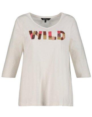Ulla Popken T-Shirt bis 64, V-Shirt aus Flammjersey, WILD-Statement, gestickte Pailletten, Schräge Seitennähte, 3/4-Ärmel