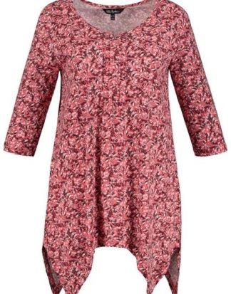 Ulla Popken T-Shirt bis 64, V-Shirt aus Rippjersey, florales Minimalmuster, Ausschnitt mit Biesen, Zipfelsaum, 3/4-Ärmel