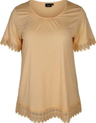 Zizzi T-Shirt Damen Große Größen T-Shirt Kurzarm Elegant Spitze Weiche Bluse