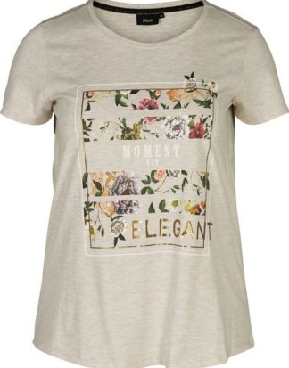 Zizzi T-Shirt Damen Große Größen T-Shirt Kurzarm Rundhals Elegant Oberteil