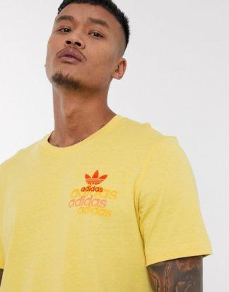 adidas Originals - Gelbes T-Shirt mit Logo mit Slittereffekt