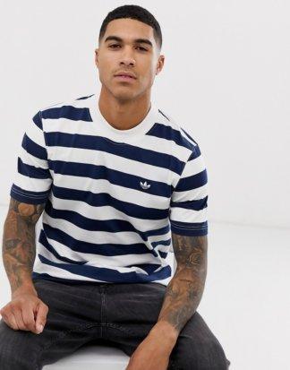 adidas Originals - Gestreiftes T-Shirt mit Vintage-Logo-Navy