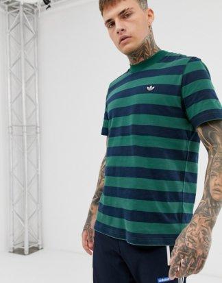 adidas Originals - Gestreiftes, marineblaues T-Shirt-Navy