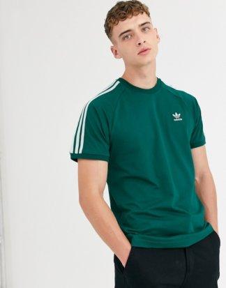 adidas Originals - Grünes T-Shirt mit 3 Streifen
