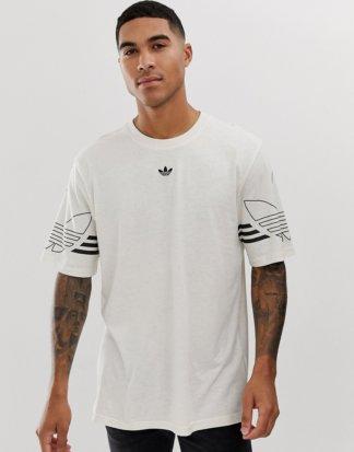 adidas Originals - T-Shirt mit Trefoil-Logo in Beige-Rot