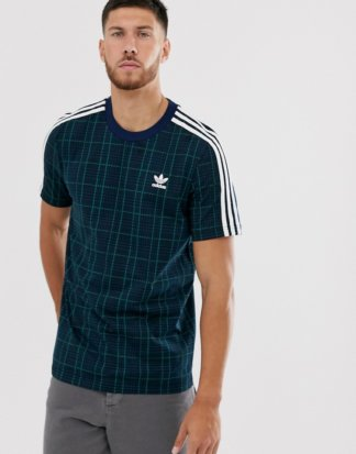 adidas Originals - T-Shirt mit den 3 Streifen aus Schottenstoff-Navy