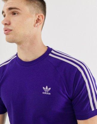 adidas Originals - Violettes T-Shirt mit 3 Streifen