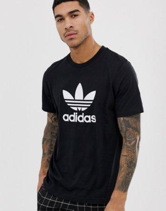 adidas Originals - adicolor - Schwarzes T-Shirt mit Dreiblatt-Logo, CW0709