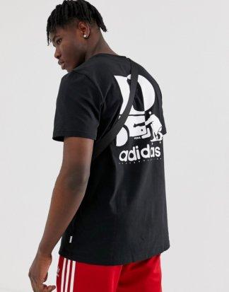 adidas - Skateboarding - Schwarzes T-Shirt mit Astronautenmotiv