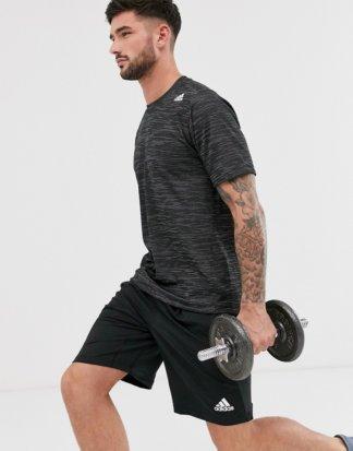 adidas - Training - Meliertes T-Shirt in Schwarz