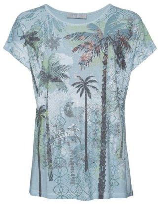 """bianca Print-Shirt """"JULIE"""" Wash-Out-Optik, Palmen-Print & Metallic-Akzente"""