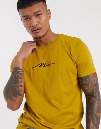 boohooMAN - Man Signature - Besticktes T-Shirt in Gelb