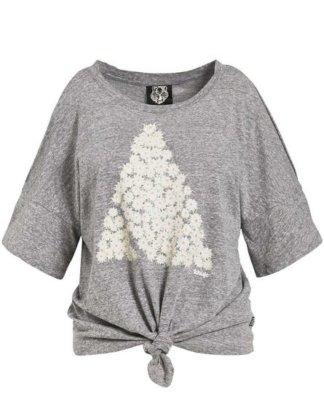 "khujo T-Shirt ""LAKSHMI PYRAMID"" mit Cold-Shoulder-Design und Print"