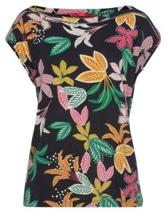 s.Oliver T-Shirt im tollen Blätter-Alloverprint mit überschnittenen Schultern